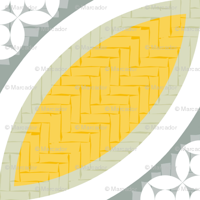 Mexican Mod Tile -- lucia yellow + olive grey
