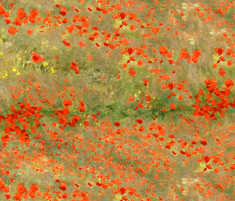 Monet: Poppy Field- Poppies Only Original Palette fabric by ninniku on Spoonflower - custom fabric