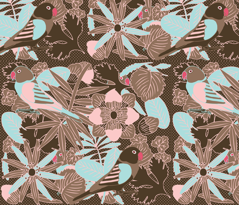 Botanic & Birds - Brown fabric by owlandchickadee on Spoonflower - custom fabric