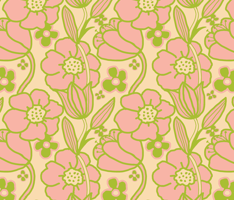 Big Mod Floral 12 inch Pink Green fabric by vinpauld on Spoonflower - custom fabric