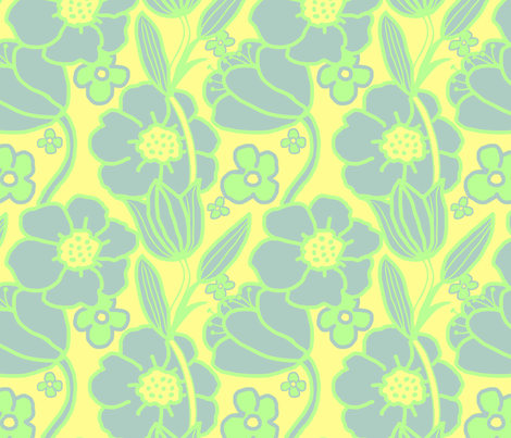 Big Mod Floral 12 inch Blue Green Yellow fabric by vinpauld on Spoonflower - custom fabric