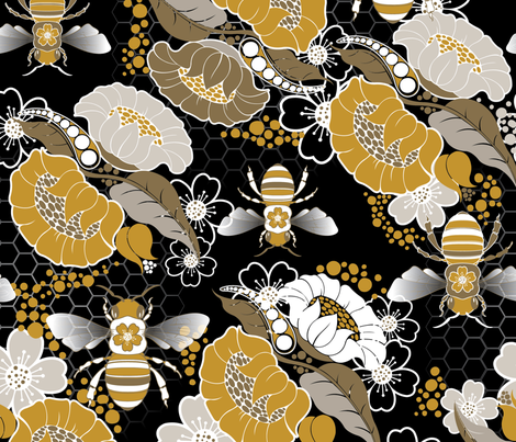 Beats N Bees Floral in Black, Gold & Silver fabric by hairpik on Spoonflower - custom fabric