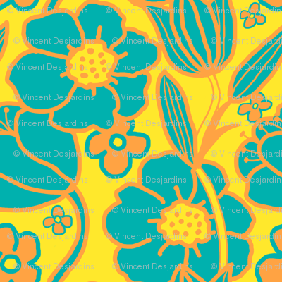 Big Mod Floral 8 inch Teal Orange Yellow
