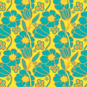 Big Mod Floral 8 inch Teal Orange Yellow