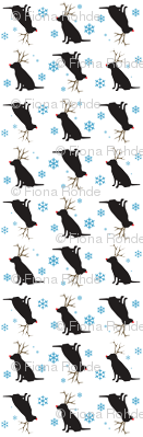 christmas black lab with antlers and snowflakes