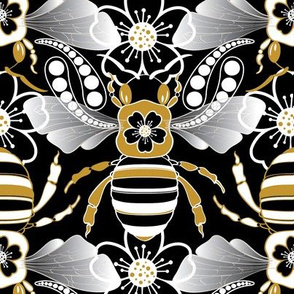 Tribal Bee in Black, Gold, Silver