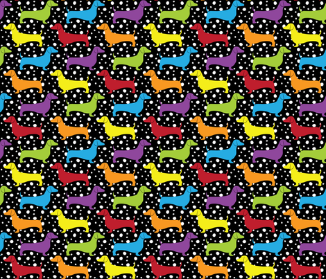Rainbow Dotted Doxies (Dark) fabric by robyriker on Spoonflower - custom fabric