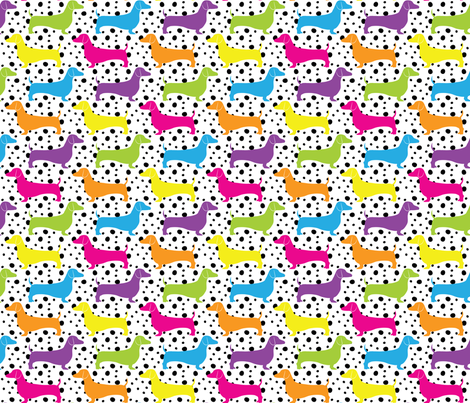 Rainbow Dotted Doxies fabric by robyriker on Spoonflower - custom fabric