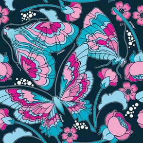 Art Nouveau Butterfly Navy