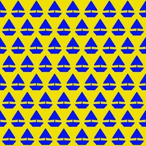 Sailor Boat Blue on Yellow