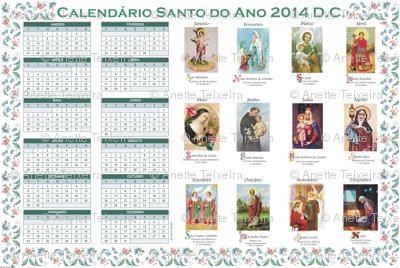 Tea Towel 2014 Calendar in Portuguese