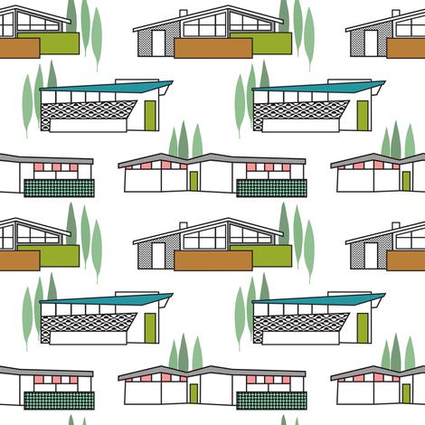 Mid-Century Homes fabric by vo_aka_virginiao on Spoonflower - custom fabric