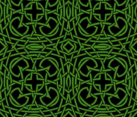 Tied in Knots green on black fabric by whimzwhirled on Spoonflower - custom fabric
