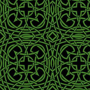 Tied in Knots green on black