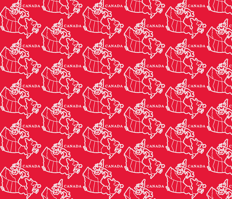 Canada Map: Red fabric by callioperosehandcarjones on Spoonflower - custom fabric