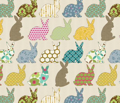 The Colorful Rabbit Large Scale fabric by littlerhodydesign on Spoonflower - custom fabric