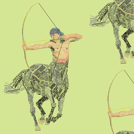 Sagittarius the Centaur Archer Olive fabric by smuk on Spoonflower - custom fabric
