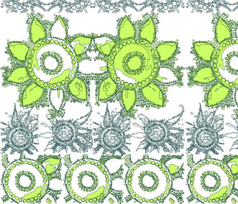 flowerpower_mod_wallpaper_green fabric by tat1 on Spoonflower - custom fabric