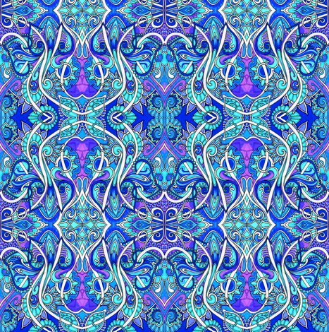 Paisley Hearted Butterfly Blues fabric by edsel2084 on Spoonflower - custom fabric