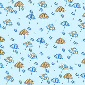 Beach Umbrellas and StarFish Light Blue Blue