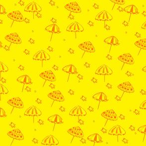 Beach Umbrellas and StarFish Yellow ellow