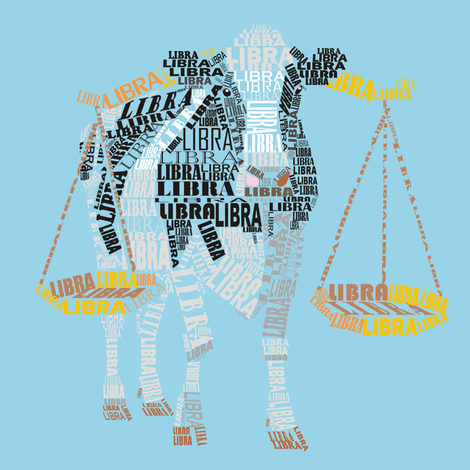 Libra the Bullock Blue fabric by pennyroyal on Spoonflower - custom fabric