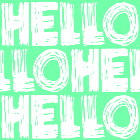 Hello Teal fabric by smuk on Spoonflower - custom fabric