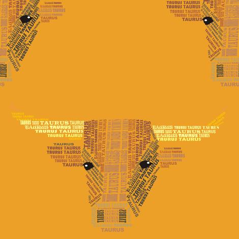 Taurus the Bull Orange fabric by smuk on Spoonflower - custom fabric