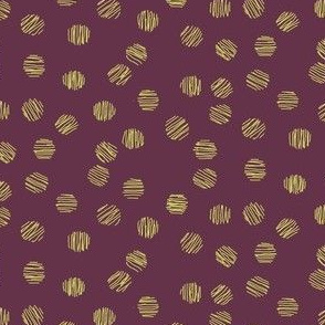 Plum and Gold Dots Coordinate for Floral Ikat