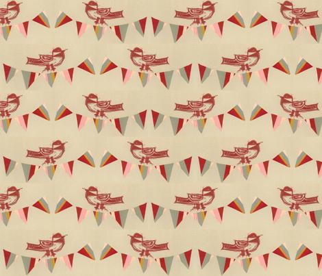 Happy Bird Day - Red fabric by owlandchickadee on Spoonflower - custom fabric