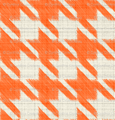 Houndstooth Burlap - Orange