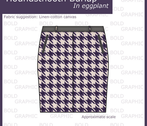 Houndstooth Burlap - Eggplant