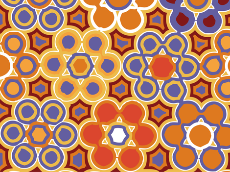 flower_garden_gold_LARGE fabric by lfntextiles on Spoonflower - custom fabric