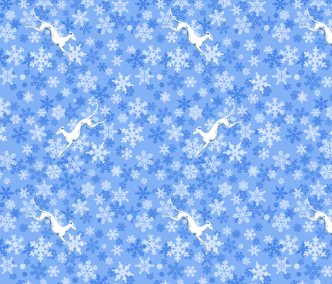 Blue Snowflakes / White Greyhounds ©2013 by Jane Walker fabric by artbyjanewalker on Spoonflower - custom fabric