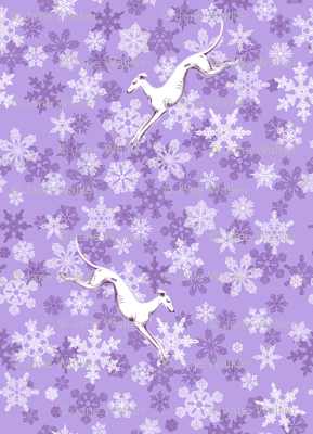 Purple Snowflakes / White Greyhounds ©2013 by Jane Walker