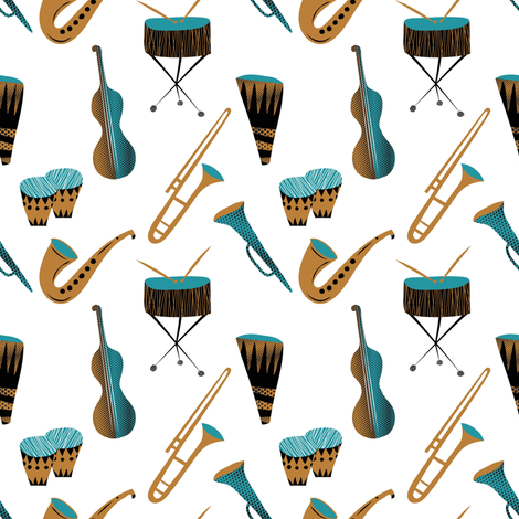 Cool daddy-o instruments fabric by vo_aka_virginiao on Spoonflower - custom fabric