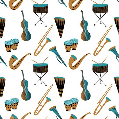 Cool daddy-o instruments fabric by vo_aka_virginiao on Spoonflower - custom fabric