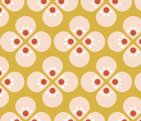 Mod Cherry Mustard fabric by mrshervi on Spoonflower - custom fabric