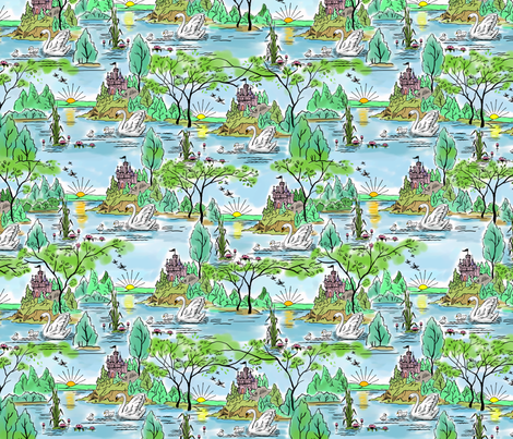 Castle Island Swan fabric by vinpauld on Spoonflower - custom fabric