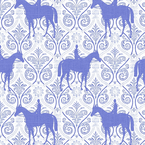 Blue and White horses on trellis fabric by ragan on Spoonflower - custom fabric