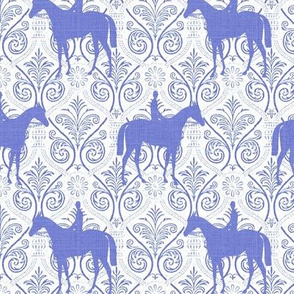 Blue and White horses on trellis