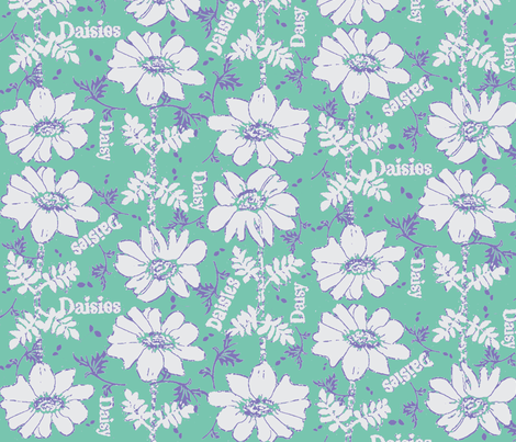 mod 3 color seafoam daisies-2 fabric by dk_designs on Spoonflower - custom fabric