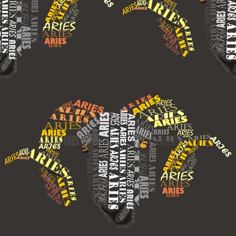 Aries the Ram Dark fabric by pennyroyal on Spoonflower - custom fabric