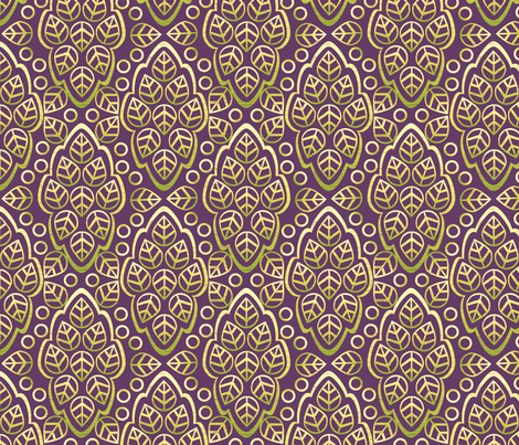 LEAFY LINES green on plum fabric by glimmericks on Spoonflower - custom fabric