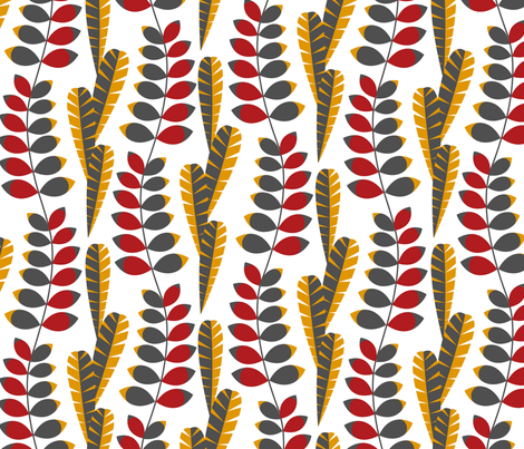 Mod foliage red fabric by cjldesigns on Spoonflower - custom fabric