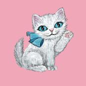 Watercolor Cats/kittens Christmas vintage retro kitsch whimsical  kittens  white