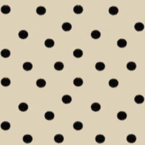 Black Polka Dot on Cream Cappuccino (large-scale jumbo dots)