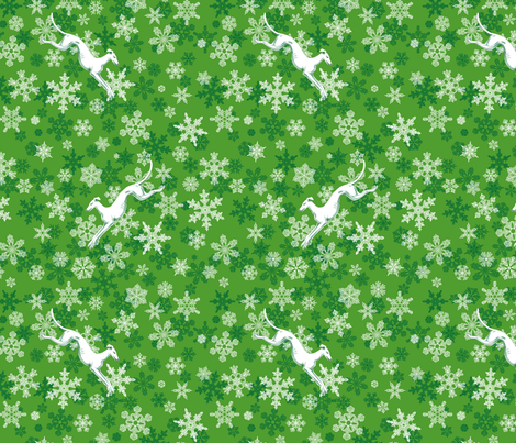 Green Snowflakes / White Greyhounds ©2013 by Jane Walker fabric by artbyjanewalker on Spoonflower - custom fabric