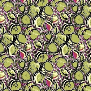 moss green and purple leaves