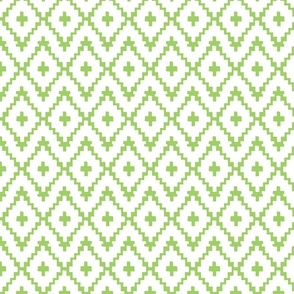 Southwest Diamonds Chevron - White on Green